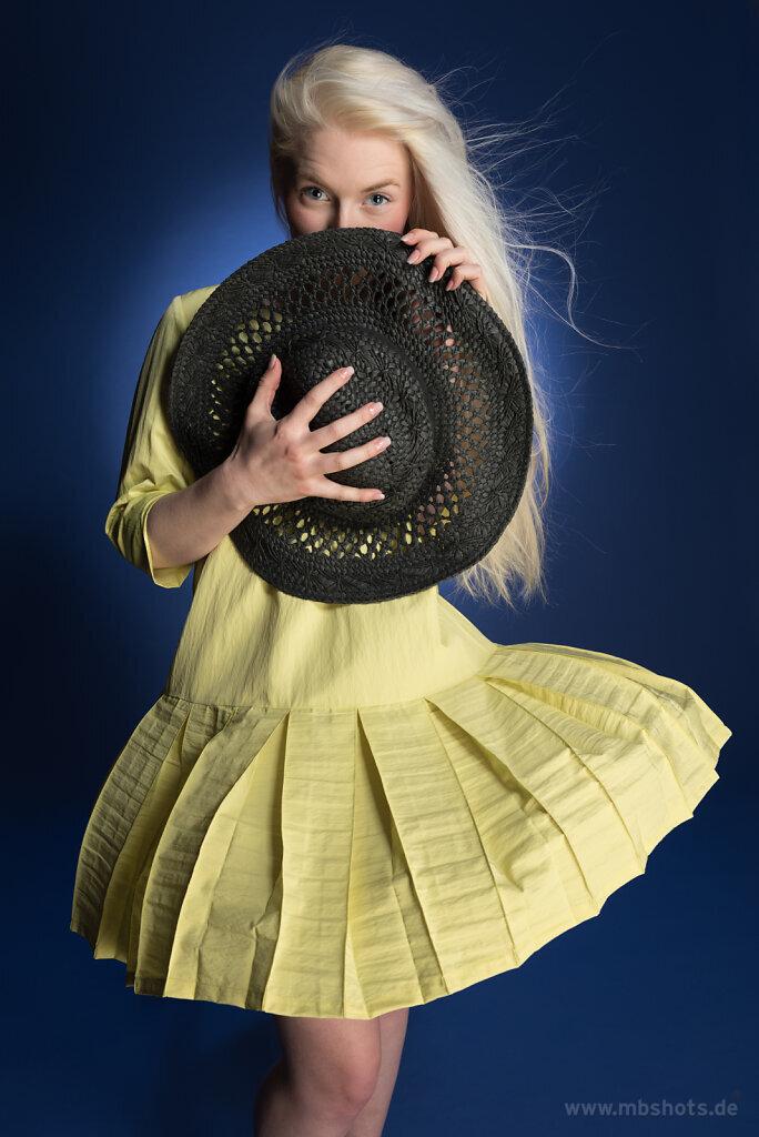 Gelbes Kleid auf Blau 3