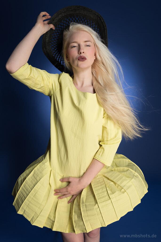 Gelbes Kleid auf Blau 4